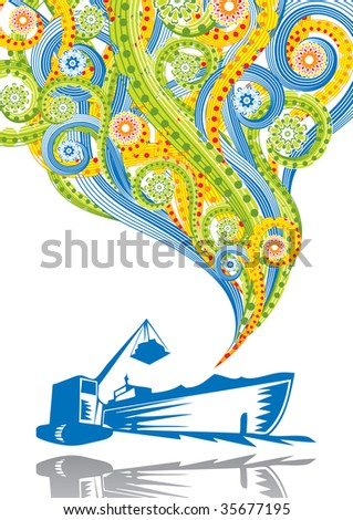 Port in abstract collage. Format A4. See this illustration in vector in my portfolio. - stock photo
