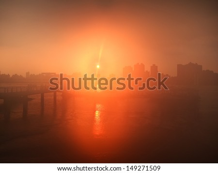 port in fog - stock photo