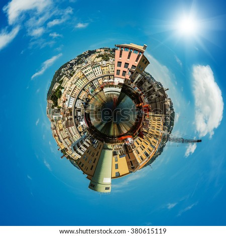 Port in Genoa is the capital of Liguria and the sixth largest city in Italy - stock photo