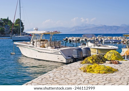 Port in Kassiopi village - Corfu island, Greece - stock photo