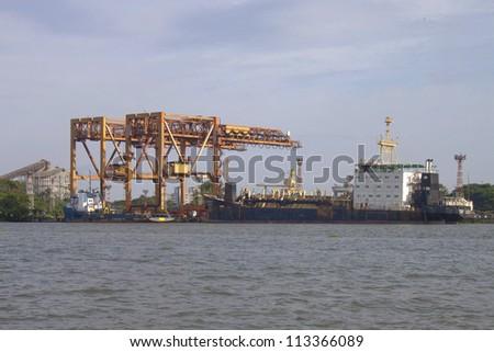 Port in Kochi, India - stock photo
