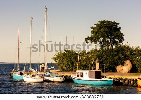 port in Puck, Pomerania, Poland - stock photo