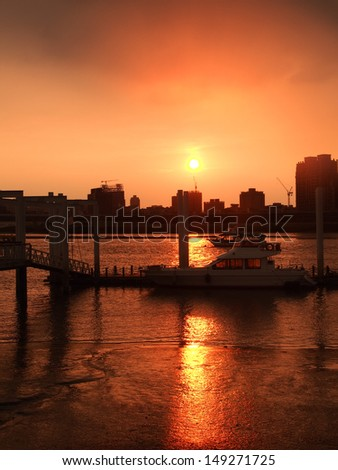port in sunset - stock photo