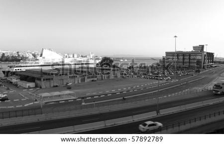 Port in the city of Piraeus. Greece - stock photo