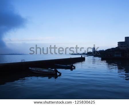 port in twilight - stock photo