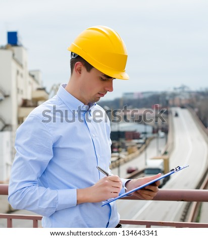 port inspector will record the port of embarkation for the notepad - stock photo