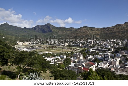 Port Louis, capital of Mauritius, race track, view from mountain - stock photo