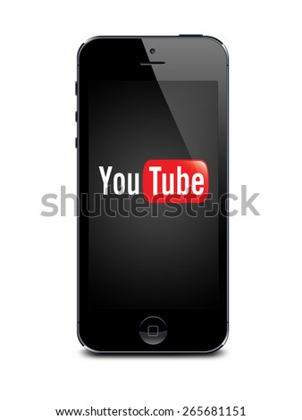 Port-Louis, Mauritius - March 24 2015 Iphone 5s space gray with Youtube logo on the screen on white background, Youtube is a video sharing website - stock photo