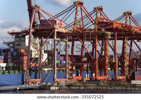 PORT METRO VANCOUVER - NOV. 3, 2015: North Vancouver and Burrard Inlet is the home to the largest port by tonnage in Canada, legally Vancouver Fraser Port Authority. Container port Vancouver Harbour.