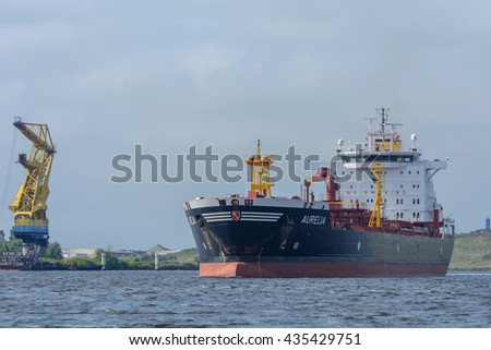 Port of Amsterdam, Noord-Holland/Netherlands - June 08-06-2016 - Tanker Aurelia is underway to the VOPAK oil terminal. The ship the cargo will be transferred when connected with the jetty.