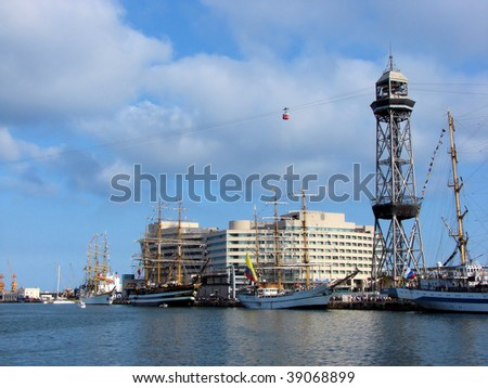 port of barcelona and the ships during the international regatta, spain, catalonia - stock photo
