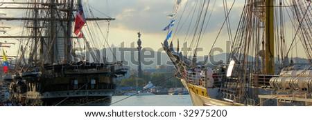 port of Barcelona during a sailing regatta, Spain - stock photo