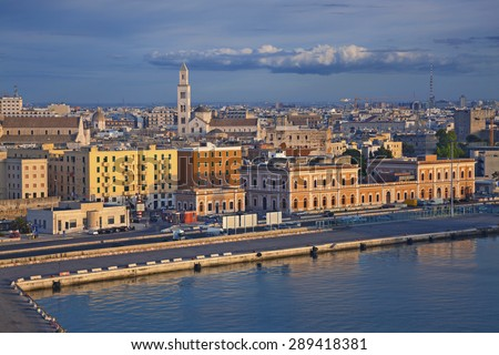 Port of Bari. Image of Bari located in southern Italy. It is the second most important economic centre of mainland Southern Italy after Naples. - stock photo