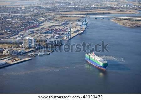 port of charleston south carolina and container ship, aerial shot