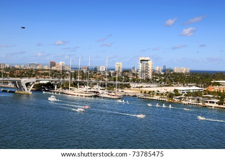 Port of Fort Lauderdale during sunny day - stock photo