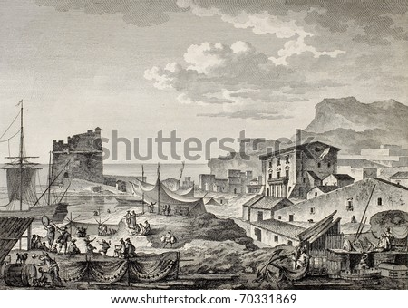 Port of Girgenti, nowadays Porto Empedocle, Sicily.  By Bertheaux and De Ghendt, published on Voyage Pittoresque de Naples et de Sicilie, by J. C. R. de Saint Non, Impr. de Clousier, Paris, 1786 - stock photo