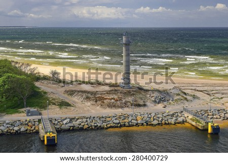 Port of Kolobrzeg, Poland, in the foreground radar tower