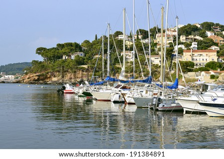 Port of Le Pradet des Oursinieres, a commune in the Var department in the Provence-Alpes-Cote Azur region in southeastern France - stock photo