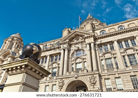 "Port Of Liverpool Building is one of Liverpool's ""Three Graces"" at the waterfront also part of Liverpool's UNESCO designated World Heritage Maritime Mercantile City. - stock photo"