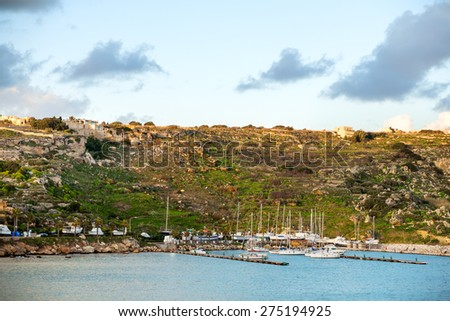 Port of Mgarr at sunset on the small island of Gozo, Malta. - stock photo