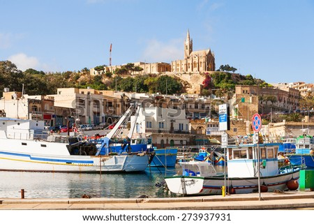Port of Mgarr on the small island of Gozo, Malta. - stock photo