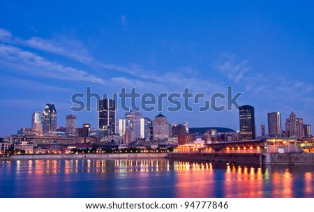 Port of Montreal seen from the street-Pierre Dupuy, and Downtown in the background at dusk - stock photo
