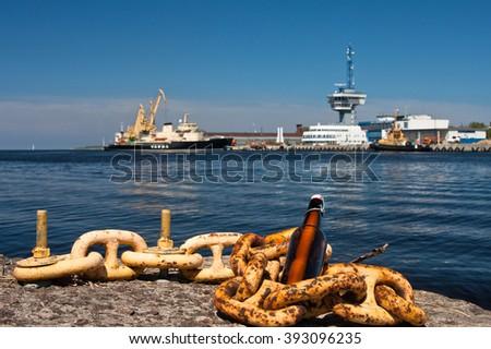 port of riga area - stock photo