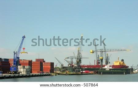 port of roterdam - stock photo