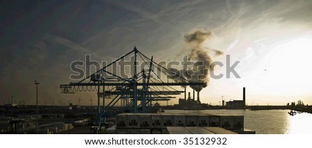 port of Rotterdam, Europe's largest port - stock photo