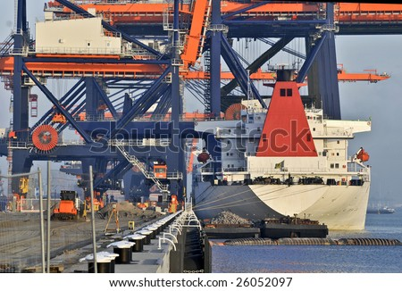 Port of Rotterdam Takes Delivery of New Container Cranes - stock photo