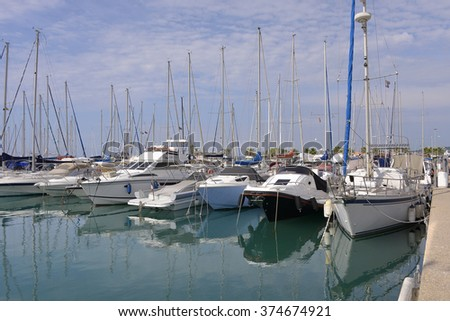 Port of Saint-Laurent-du-Var, commune in the Alpes-Maritimes department in the Provence-Alpes-Cote Azur region in southeastern France - stock photo