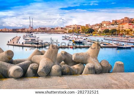 Port of Santa Maria Maggiore in Milazzo town, Sicily, Italy, Mediterrhenian sea, Europe. Retro style. - stock photo