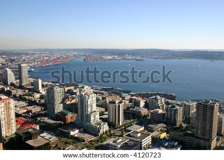 Port of Seattle at the Elliot Bay - stock photo