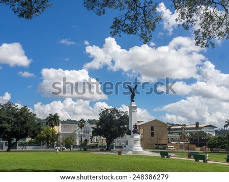 Port of Spain and St  Benedict - Views around the Caribbean Island of Trinidad - stock photo