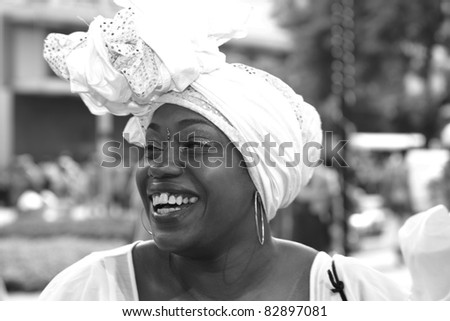 PORT OF SPAIN - AUGUST 1: Celebrating Emancipation Day which commemorates the abolition of Slavery August 1, 2011 in Port Of Spain, Trinidad & Tobago. Colorful & elaborate headpieces are usually worn.