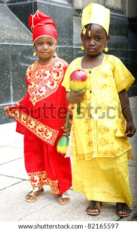 PORT OF SPAIN - AUGUST 1: Unidentified children celebrating Emancipation Day which commemorates the abolition of Slavery August 1, 2011 in Port Of Spain, Trinidad & Tobago. - stock photo