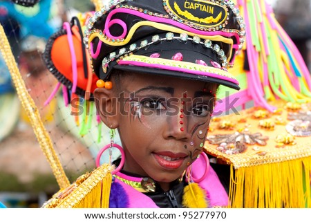 PORT OF SPAIN - FEBRUARY 11: Delece Rabathaly portraying Psychedelic Fancy Sailor during the Red Cross Children's Carnival celebrations on February 11, 2012 in Port Of Spain, Trinidad & Tobago. - stock photo