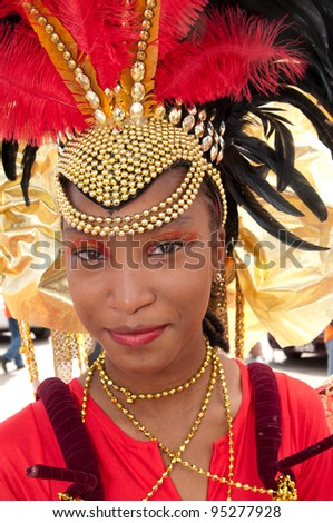 PORT OF SPAIN - FEBRUARY 11: Giovanna Ramsay portraying Bacchanal during the Red Cross Children's Carnival celebrations on February 11, 2012 in Port Of Spain, Trinidad & Tobago. - stock photo