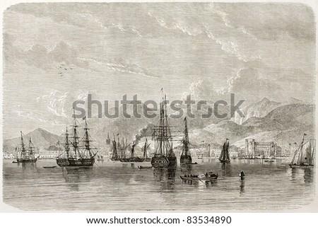 Port of Spain old view, Trinidad, Caribbean sea. Created by De Berard, published on Le Tour du Monde, Paris, 1860 - stock photo