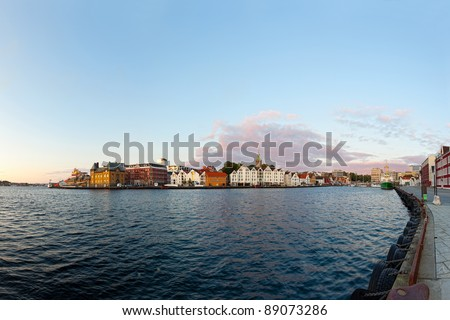 Port of Stavanger in the light of the setting sun, Norway.