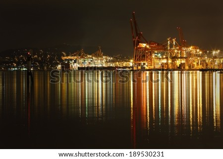 Port of Vancouver Night. The Port of Vancouver cargo terminal on the south side of Burrard Inlet working through the night. British Columbia, Canada.  - stock photo