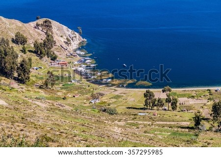 Port on Isla del Sol (Island of the Sun) in Titicaca lake, Bolivia - stock photo