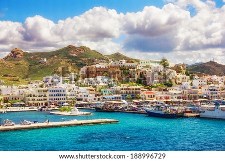 Port on the island of Naxos, Greece  - stock photo