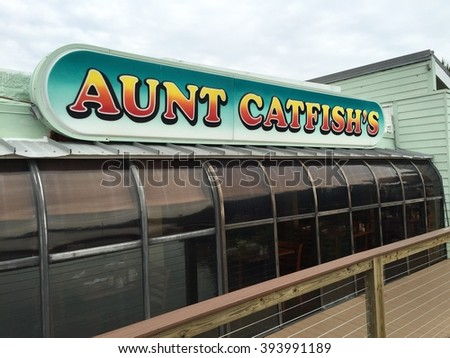 PORT ORANGE, FL-MARCH 19, 2016: Aunt Catfish's is one of Daytona Beach's most popular restaurants. It's waterfront location is a must see for visitors all year.
