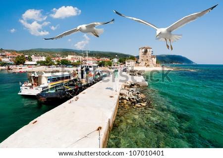 Port Ouranoupolis (Ouranoupoli ), entry site to monasteries of Mount Athos, Greece - stock photo