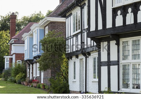 PORT SUNLIGHT, MERSEYSIDE/ENGLAND - JULY 25, 2015: Street in Arts and Crafts style in garden village. Lever Brothers built the village for the workers in its soap factory, work commenced in 1888.