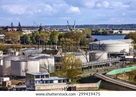 Port terminal of sea port Rotterdam, Netherlands. - stock photo
