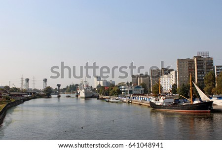 Port, the river Pregolya, the city of Kaliningrad, large ships in the summer