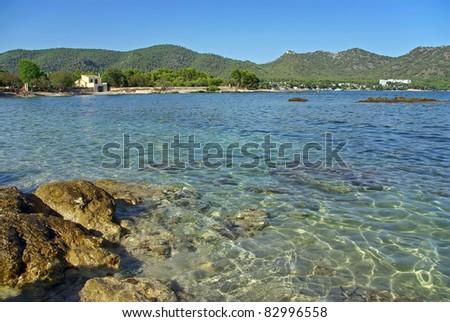 Port Vell bay near Cala Millor in Majorca (Balearic Islands - Spain) - stock photo