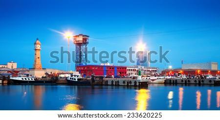Port Vell in evening. Barcelona, Catalonia - stock photo